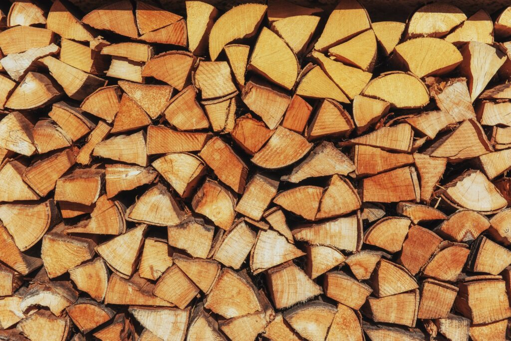 Background of firewood harvested for the new heating season